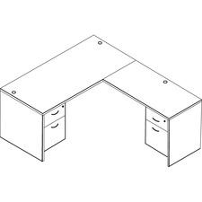 "OSP Furniture L-Shape - 66"" x 72"" - Double Pedestal - Tri-groove Reeded Edge - Material: Metal Handle, Polyvinyl Chloride (PVC) - Finish: Urban Walnut, Laminate"