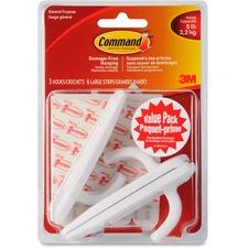 Command Large Hooks Value Pack, 17003C-VP - 3 Large Hook - 2.27 kg Capacity - for Paint, Wood, Tile, Indoor, Bag, Belt, Extension Cord, General Purpose - White - 3 / Pack