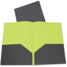 "C-Line Letter Portfolio - 8 1/2"" x 11"" - 2 Inside Front Pocket(s) - Poly - Gray, Green"