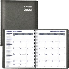 Blueline Net Zero Carbon Monthly Planner - Yes - Monthly, Daily - 1.1 Year - December 2018 till December 2020 - 1 Month Single Page Layout - Twin Wire - Black - Soft Cover, Flexible Cover, Eco-friendly, Bilingual