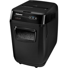 "Fellowes AutoMaxâ""¢ 200C Auto Feed Shredder - Non-continuous Shredder - Cross Cut - 200 Per Pass - for shredding Staples, Paper Clip, Credit Card, CD, DVD, Junk Mail, Paper - 0.2"" x 1.5"" Shred Size - P-4 - 3.35 m/min - 9"" Throat - 12 Minute Run Time -"