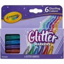 CYO 588629 Crayola 6 Color Glitter Markers CYO588629