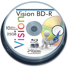 Vision Blu-ray Recordable Media - BD-R - 6x - 25 GB - 10 Pack Spindle - 120mm