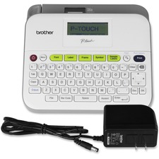 "Brother PT-D400AD Desktop Labelmaker - Thermal Transfer - 14 Fonts - 10 Text Style - 180 dpi - Label, Tape0.14"" (3.50 mm), 0.24"" (6 mm), 0.35"" (9 mm), 0.47"" (12 mm), 0.71"" (18 mm) - Power Adapter, Battery - 6 Batteries Supported - AA - White, Light Gray - Desktop - PC - QWERTY, Manual Cutter, Print Preview, Auto Power Off, Label Length Setting, Horizontal Alignment, Vertical Printing, Mirror Printing, Barcode Printing - for Home, Office"