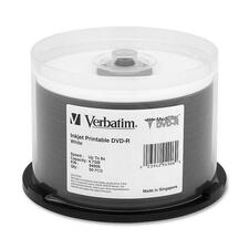 Verbatim MediDisc DVD-R 4.7GB 8X White Inkjet Printable with Branded Hub - 50pk Spindle