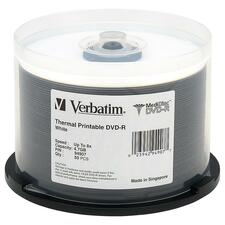 Verbatim MediDisc DVD-R 4.7GB 8X White Thermal Printable with Branded Hub - 50pk Spindle