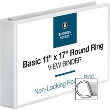 """Business Source Tabloid-size Round Ring Reference Binder - 2"""" Binder Capacity - Tabloid - 11"""" x 17"""" Sheet Size - Round Ring Fastener(s) - White - Recycled - Durable, Clear Overlay"""