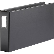 """Business Source Tabloid-size Round Ring Reference Binder - 3"""" Binder Capacity - Tabloid - 11"""" x 17"""" Sheet Size - Round Ring Fastener(s) - Black - Durable, Label Holder"""
