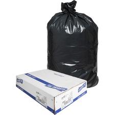 "Genuine Joe Slim Jim Can Liners - Medium Size - 87.06 L - 28.50"" (723.90 mm) Width x 43"" (1092.20 mm) Length - Low Density - Black - 150/Carton - Office Waste, Food"