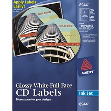 AVE 8944 Avery Full-Face Inkjet Printer CD/DVD Labels  AVE8944