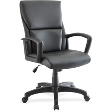 LLR84570 - Lorell Euro Design Leather Executive Mid-back Chair