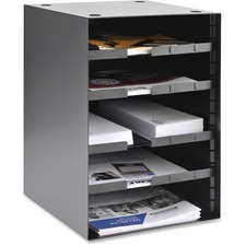 "MMF SteelMaster 5-Tier Adjustable Organizer - 5 Compartment(s) - 5 Tier(s) - 19"" Height x 12.5"" Width x 12"" Depth - Desk Mountable, Shelf, Tabletop - Recycled - Black - Steel - 1Each"