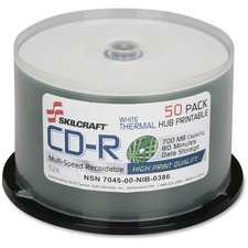 SKILCRAFT CD Recordable Media - CD-R - 52x - 700 MB - 50 Pack Spindle