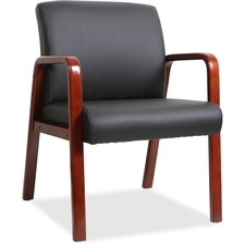 LLR40202 - Lorell Black Leather Wood Frame Guest Chair