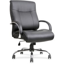 "Lorell Leather Deluxe Big/Tall Chair - Bonded Leather Black Seat - Bonded Leather Black Back - 5-star Base - Black - 22.9"" Width x 30.3"" Depth x 46.9"" Height"