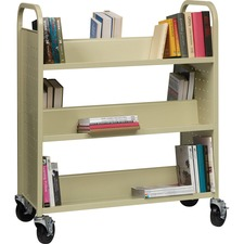 "Lorell Double-sided Book Cart - 6 Shelf - 90.72 kg Capacity - 5"" (127 mm) Caster Size - Steel - 36"" Width x 19"" Depth x 46"" Height - Putty"