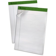 """Ampad Earthwise Recycled Writing Pads - 40 Sheets - Both Side Ruling Surface - 0.34"""" Ruled - Ruled - 20 lb Basis Weight - 8 1/2"""" x 11 3/4"""" - White Paper - Environmentally Friendly, Micro Perforated - Recycled - 4 / Pack"""