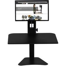 "Victor High Rise Sit-Stand Desk Converter - 15.50"" (393.70 mm) Height x 28"" (711.20 mm) Width x 23"" (584.20 mm) Depth - Desktop - Laminate - Wood, Steel - Black"