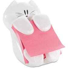 "Post-it® Pop-up Note Dispenser, Cat Shape, White - 3"" (76.20 mm) x 3"" (76.20 mm) - White"