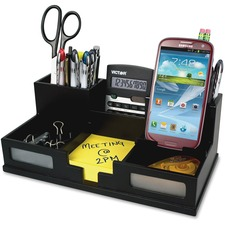 """Victor Phone Holder Desk Organizer - 6 Compartment(s) - 4"""" Height x 5.5"""" Width x 10.4"""" Depth - Cell Phone Holder, Sturdy, Durable, Non-slip Feet, Scuff-free, Scratch Resistant - Black - Frosted Glass, Wood, Rubber - 1 Each"""