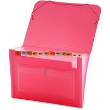 LIO94400PKBX - Lion CLEAR-LINE 13-Pocket Poly Expanding File, Transparent Pink