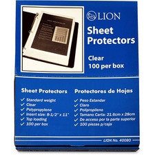 LIO40080BX - Lion Binder Sheet Protectors, 100Each/box