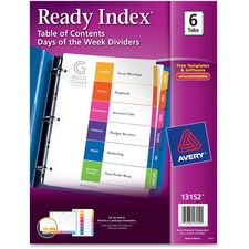 AVE 13152 Avery 6-Tab Days of the Week Divider Set AVE13152