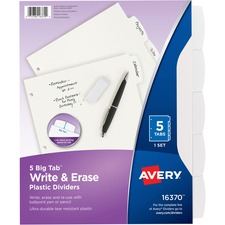 AVE16370 - Avery&reg Big Tab Write & Erase Plastic Dividers