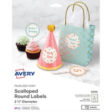 "AVE 22836 Avery 2-1/2"" Pearlized Round Labels AVE22836"
