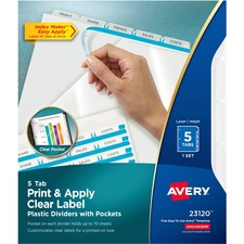 AVE 23120 Avery Storage Pocket Plastic Dividers AVE23120