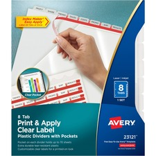 AVE23121 - Avery&reg Index Maker Print & Apply Clear Label Plastic Dividers with Pocket