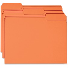 Business Source 1/3 Tab Cut Recycled Top Tab File Folder - Orange - 10% Recycled