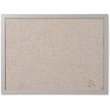 """MasterVision Fabric Bulletin Board - 18"""" (457.20 mm) Height x 24"""" (609.60 mm) Width - Gray Fabric Surface - Durable - 1 Each"""