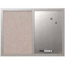 "MasterVision MV Fabric/Dry-erase Bulletin Board - 18"" (457.20 mm) Height x 24"" (609.60 mm) Width - Gray Fabric, White Surface - Lightweight, Mounting System, Magnetic - Gray Wood Frame - 1 Each"
