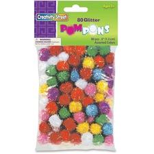 "ChenilleKraft 1/2\"" Glitter PomPons - 80 Piece(s) - 0.5\"" - 1 Pack - Assorted"