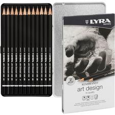 Lyra Art Design Hi-quality Graphite Pencils - 4 mm Lead Diameter - Black Lead - Black Wood Barrel - 12 / Set