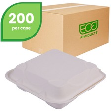 "Eco-Products 9"" x 9"" x 3"" 3-Compartment Hinged Sugarcane Clamshell"