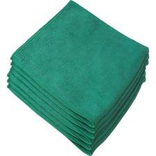 "Genuine Joe General Purpose Microfiber Cloth - Cloth - 16"" (406.40 mm) Width x 16"" (406.40 mm) Length - Green"