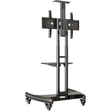 "Lorell Flat Panel TV Cart - 32"" to 70"" Screen Support - 45.36 kg Load Capacity - Flat Panel Display Type Supported - Steel - Black"