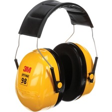 Peltor Optime 98 Earmuffs - Recommended for: Assembly, Cleaning, Demolition, Grinding, Maintenance, Machinery, Sanding, Welding, Automotive, Military, Manufacturing, ... - Noise Reduction, Comfortable, Cushioned, Lightweight, Adjustable Earcup, Foam Face Seal - One Size Size - Ear Protection - Stainless Steel Headband, Acrylonitrile Butadiene Styrene (ABS), Foam Cushion - Black, Yellow - 1 Each