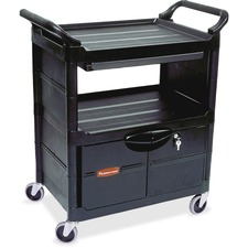RCP FG345700BLA Rubbermaid Comm. Lockable Storage Utility Cart RCPFG345700BLA