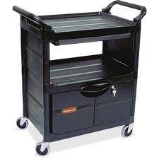 "Rubbermaid Lockable Storage Utility Cart - 200 lb Capacity - 4"" Caster - Plastic - 33.6"" x 18.6""37.8"" - Black"