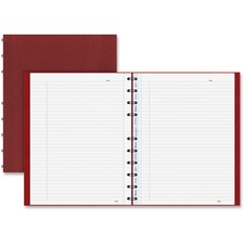 """Blueline Red Cover MiracleBind Notebook - 150 Pages - Twin Wirebound - Ruled - Ruled - 11"""" x 8 1/2"""" - 9.06"""" (230.17 mm) x 11"""" (279.40 mm) - White Paper - Red Cover Embossed - Removable, Repositionable, Hard Cover, Micro Perforated, Storage Pocket, Index Sheet, Self-adhesive Tab, Easy Tear - Recycled - 1Each"""