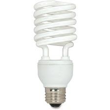 Satco 23-watt T2 Spiral CFL Bulb 3-pack - 23 W - 120 V AC - Spiral - T2 Size - Soft White Light Color - E26 Base - 12000 Hour - 4400.3°F (2426.8°C) Color Temperature - 82 CRI - Energy Saver