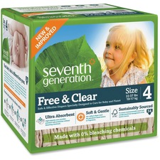 SEV 44080 Seventh Gen. Baby Free & Clear Stage 4 Diapers SEV44080