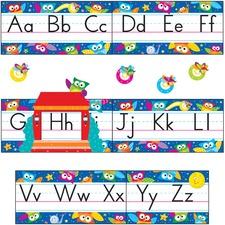 TEP 8364 Trend Owl-Stars Alphabet Manuscript Bulltn Brd Set TEP8364