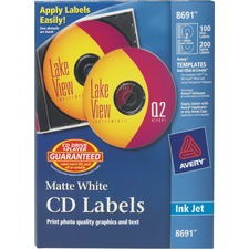 AVE 8691 Avery Clear CD/DVD Inkjet Matte Labels AVE8691