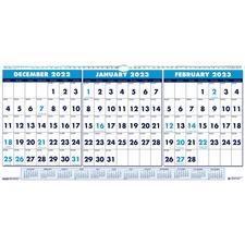 HOD 3648 Doolittle 3-month Horizontal Wall Calendar HOD3648