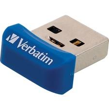 Verbatim 16GB Store 'n' Stay Nano USB 3.0 Flash Drive - Blue - 16 GB - USB 3.0 - Blue - Lifetime Warranty - 1 Each