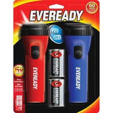 Eveready LED Economy Flashlight - D - PolypropyleneCasing - Blue, Red